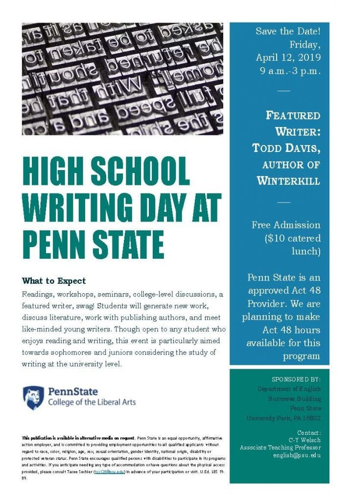 High School Writing Day poster